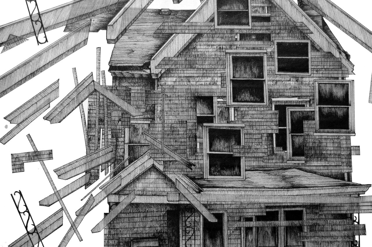 Penov creates architecturally-based pen and ink drawings