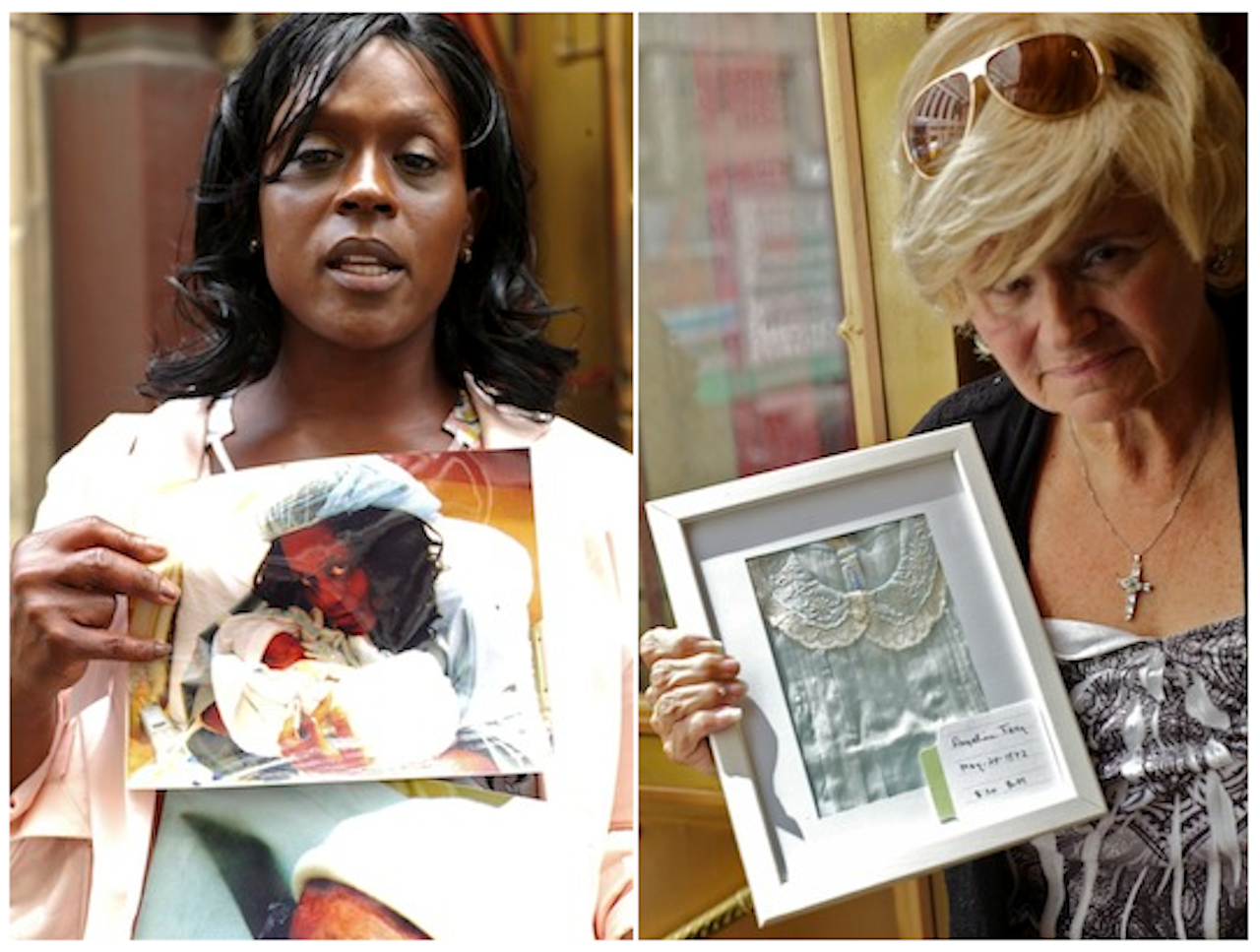 Left: Sharone Palmer with a photo of her granddaughter, Chloe Mckayla Bellevue Palmer; right: Jeanne Frey holds the dress of her sister, Angelina. Both were still-born and are believed to be buried on Hart Island (© Claire Yaffa/Hart Island Project, 2012)