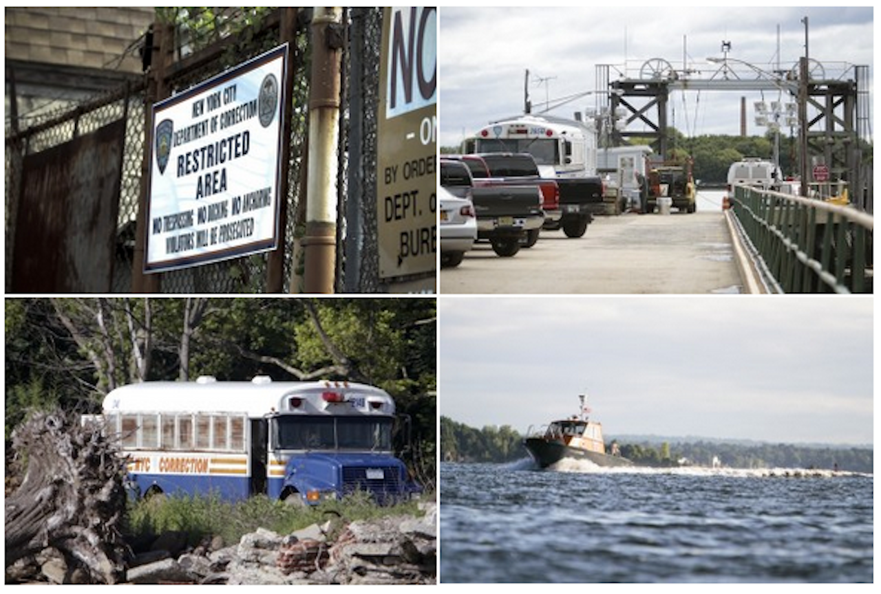 Getting to Hart Island has many steps. Clockwise from top left: prisoners and guards enter a restricted dock on City Island; they board a ferry; cross the western Long Island Sound; and travel via bus from the dock to the graves. (Photos: Luke Rafferty)