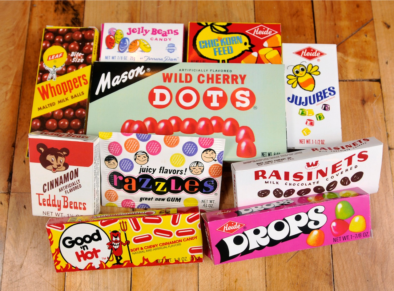 Select pieces from Jason Liebig's candy wrapper/box collection
