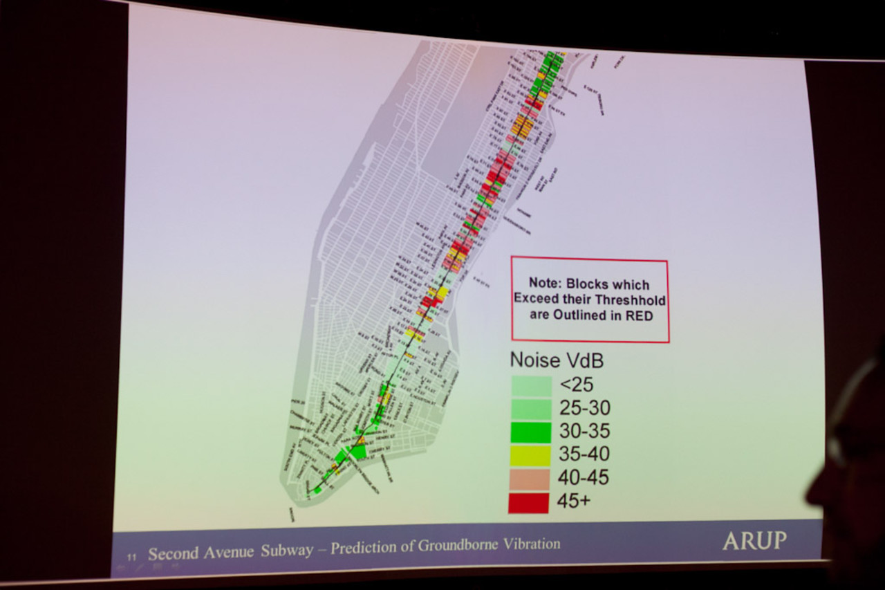 A presentation by Arup engineering company looks at noise along the Second Avenue subway line