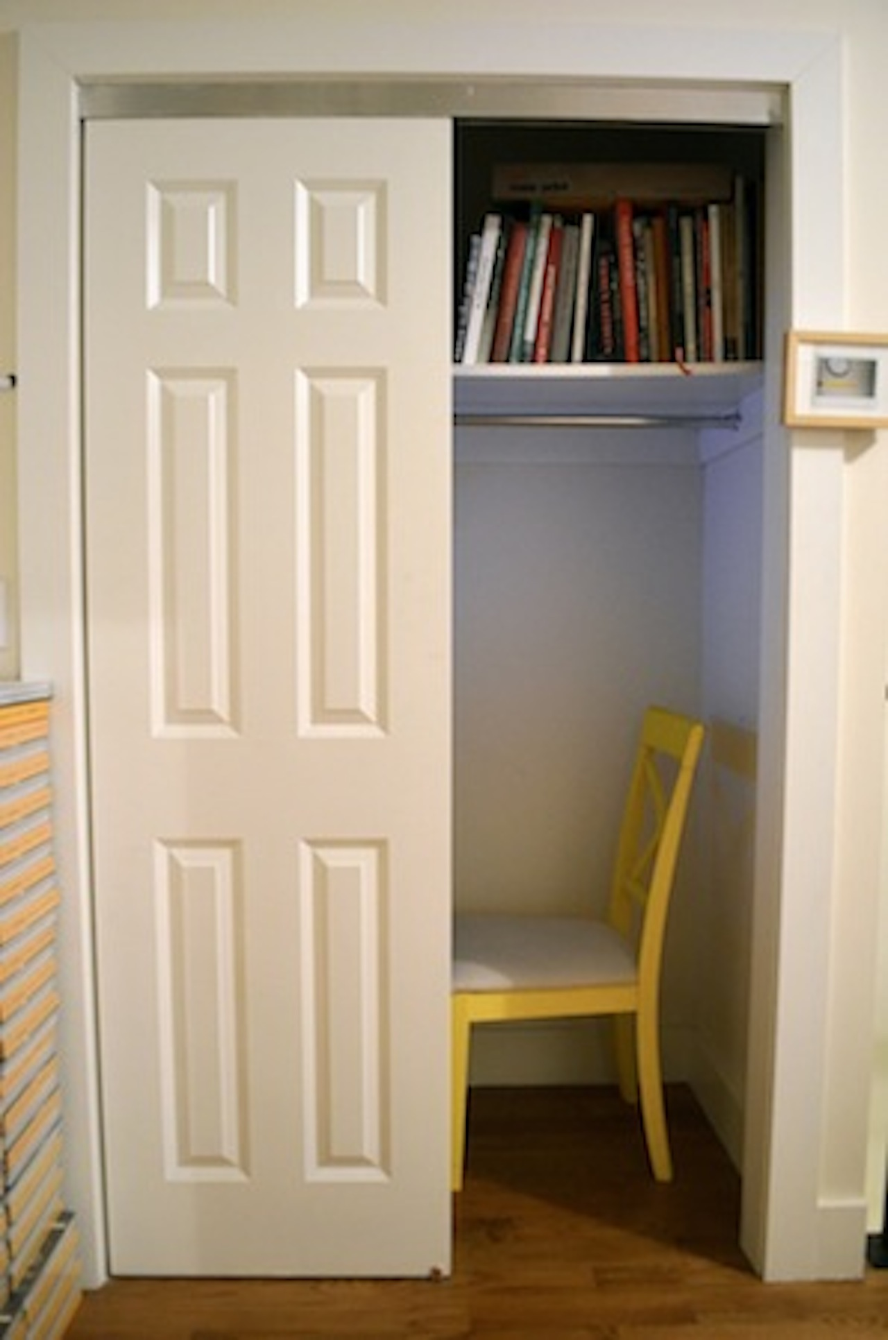A closet where one person at a time can watch films (Photo by Emily Wilson)