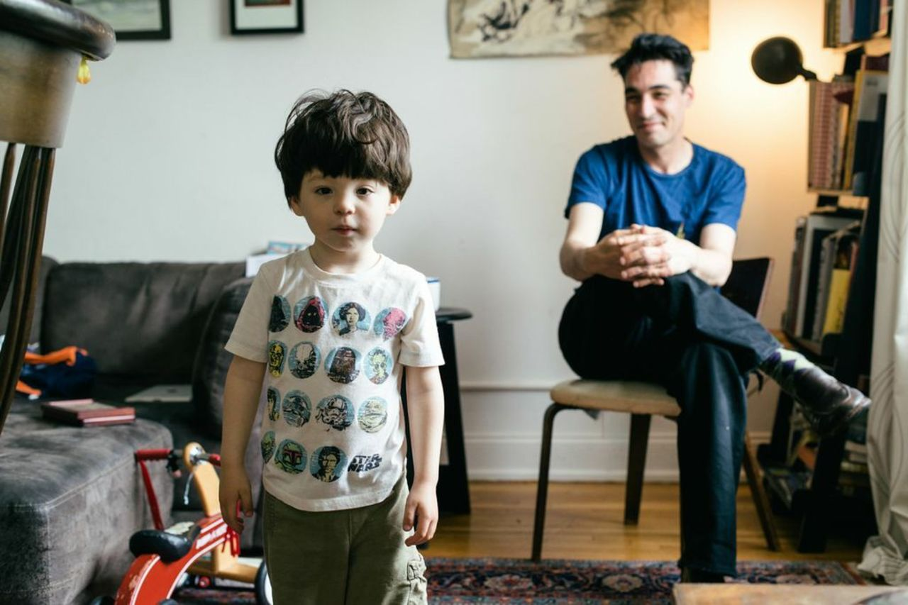 Marcus and son Charlie at home in Brooklyn.
