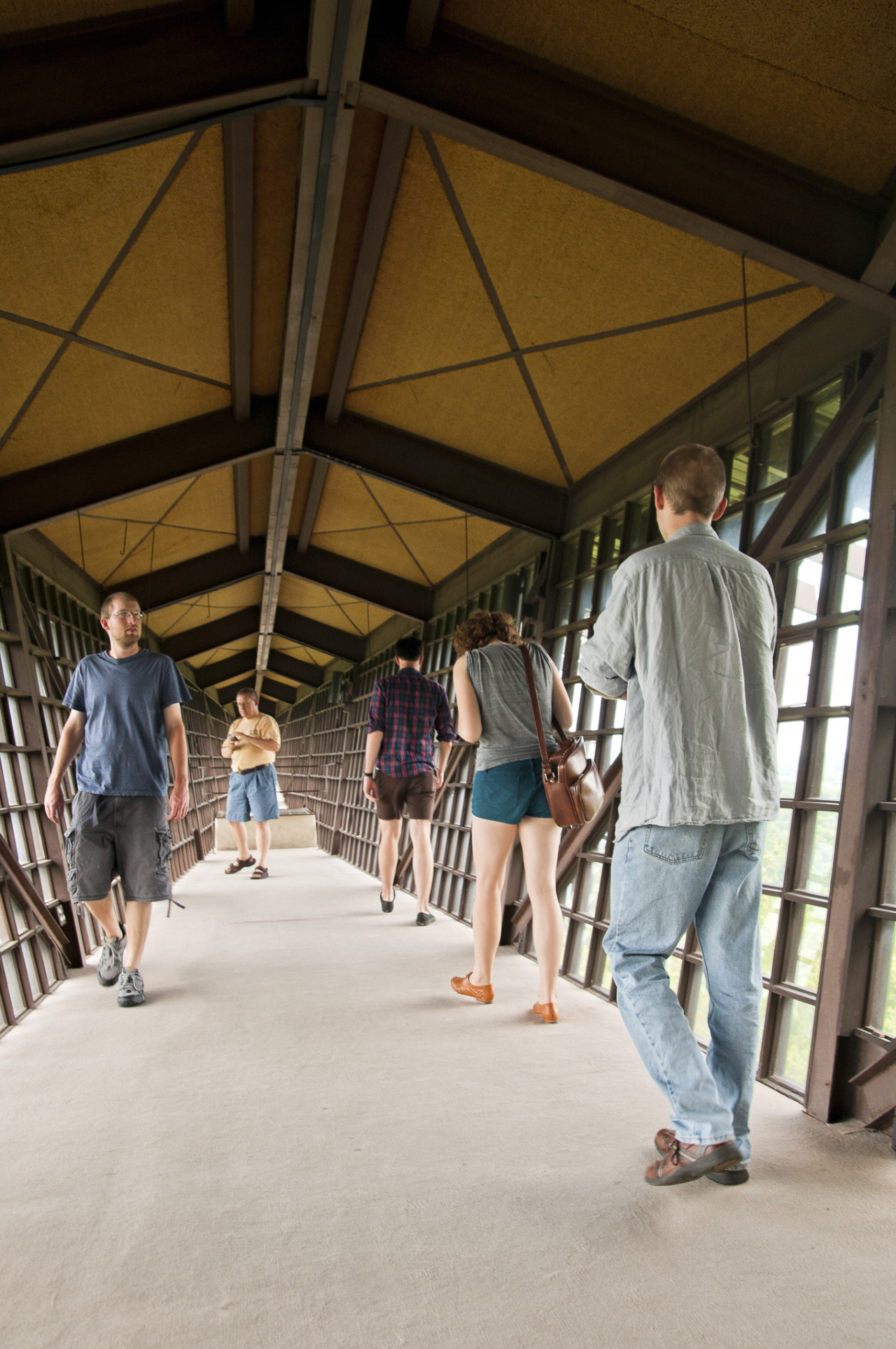 Visitors walk the length of the Infinity Room at the House on the Rock.