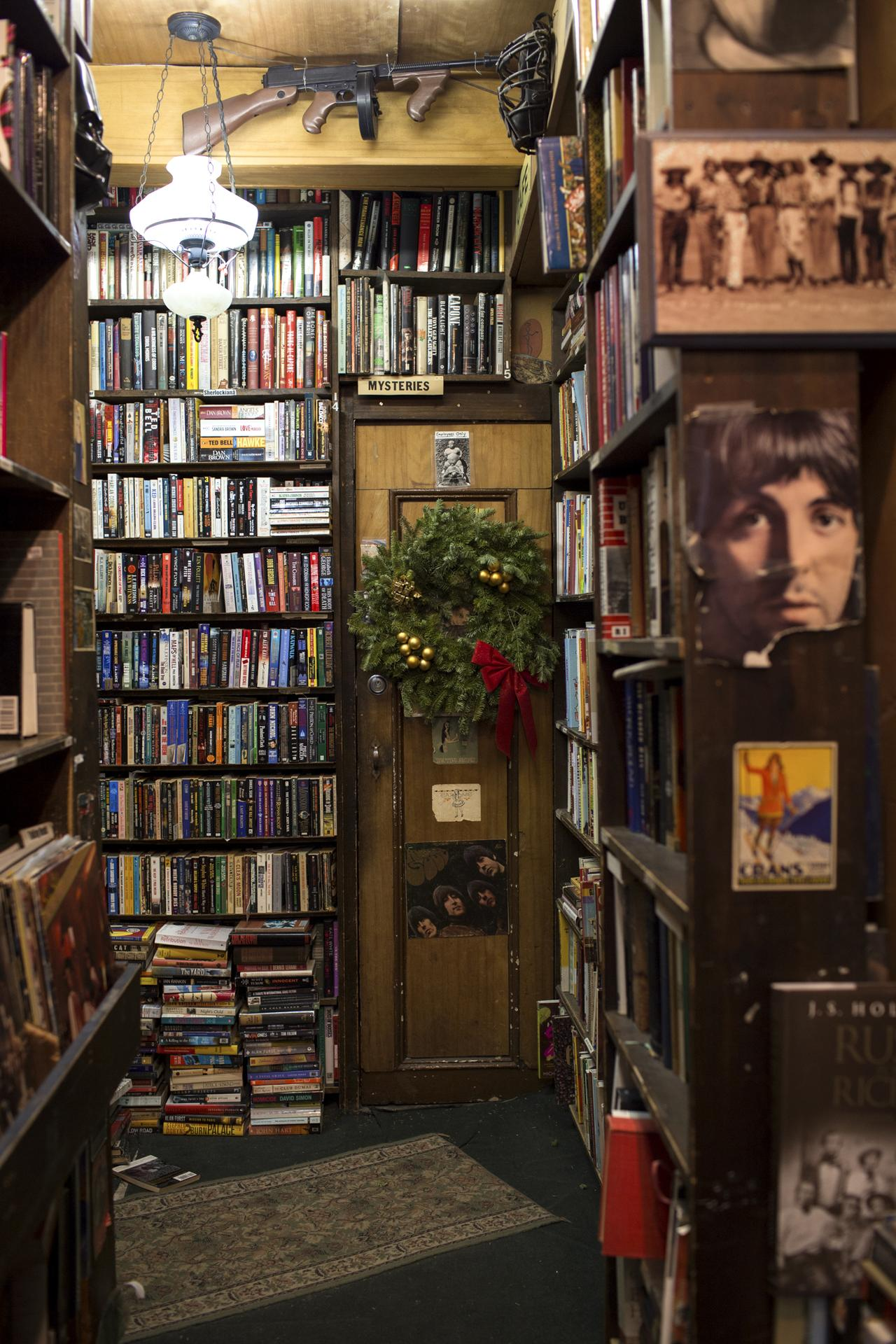 The literature-stuffed interior of Westsider Books.