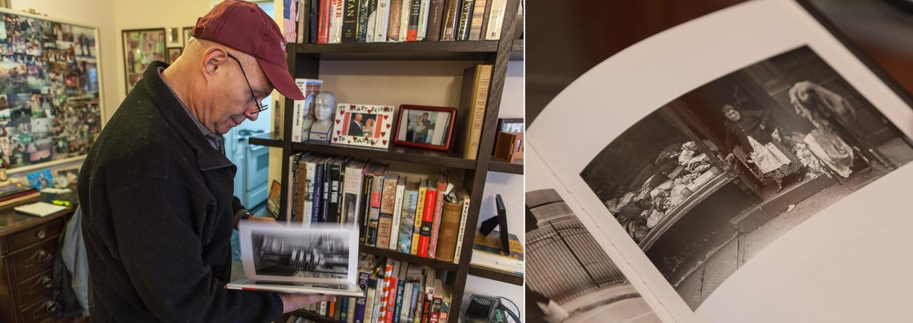 "LEFT: Kaback flips through the book ""Vivian Cherry's New York."" RIGHT: The 1947 photo shot by Cherry of his grandmother in the book. A framed print of  the photo hangs on his dining room wall."