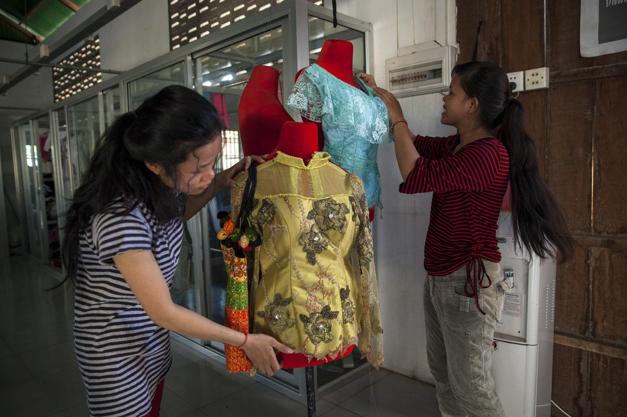 Sewing students dress mannequins at CCPCR's training facilities in Phnom Penh.