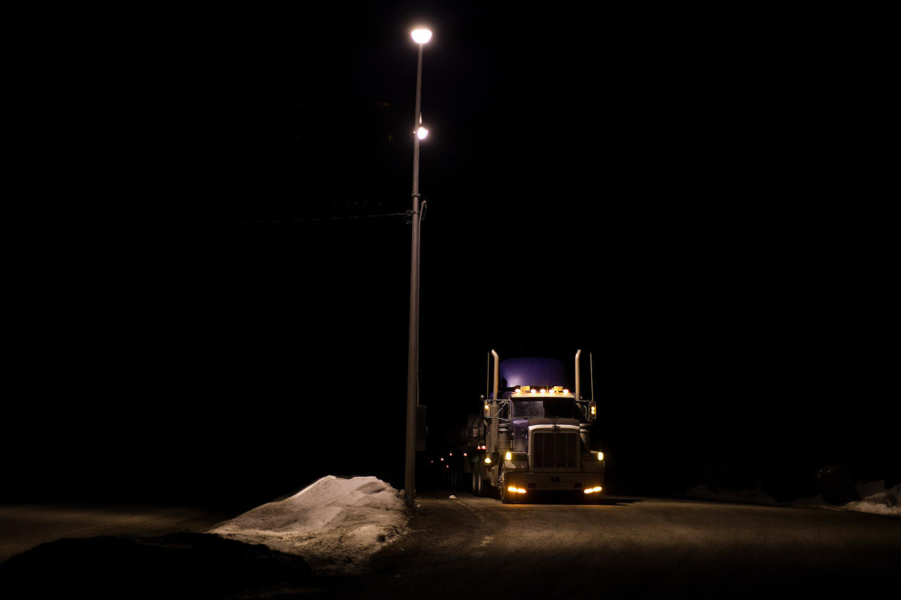 A truck pulls in to a rest stop frequented by hitchhikers along Highway 16. Some locals theorize that a group or a single truck driver are involved in the disappearances.