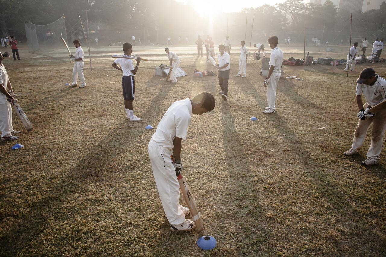 "Boys practicing at a cricket camp in Mumbai, 2011.<span class=""_Credit"">©Jonathan Taggart, 2011</span>"