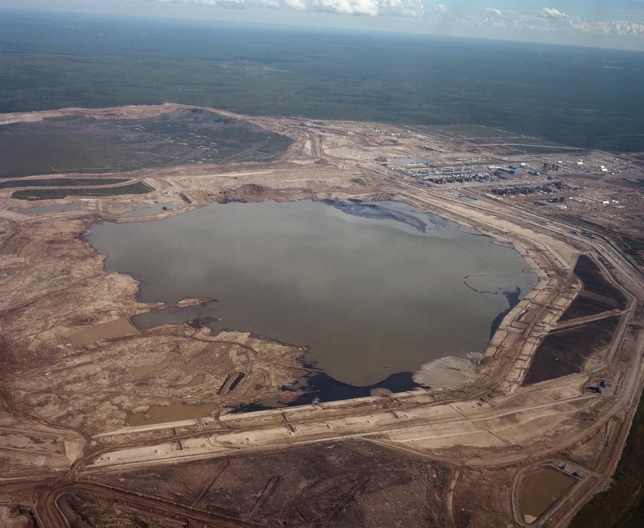 A tailings pond, which holds wastewater left over from the mining process