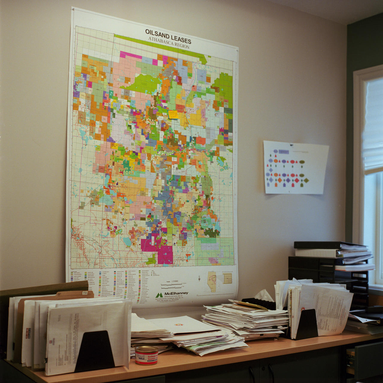 A map of oil sands leases hangs on the wall of the sustainability department of Fort McKay First Nation. (Aaron Vincent Elkaim)