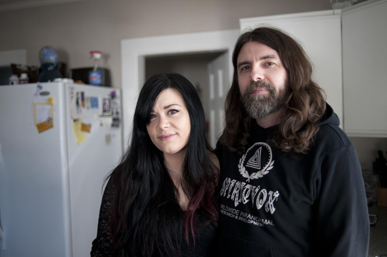 Roberge and his fiancé, Jen Snow, in their home. Roberge has the support of his two young sons, but often disagrees with his parents over his profession and beliefs.