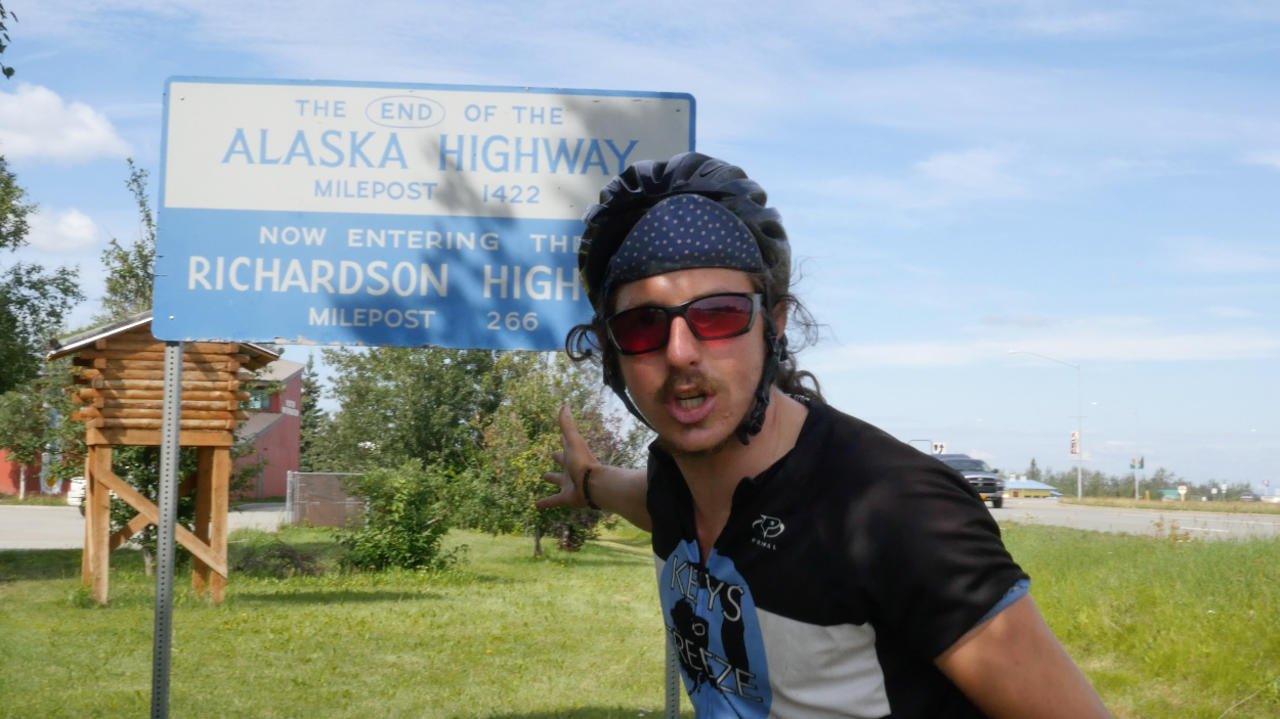 Reese at the end of the Great Alaska Highway before moving on to the Dalton Highway.