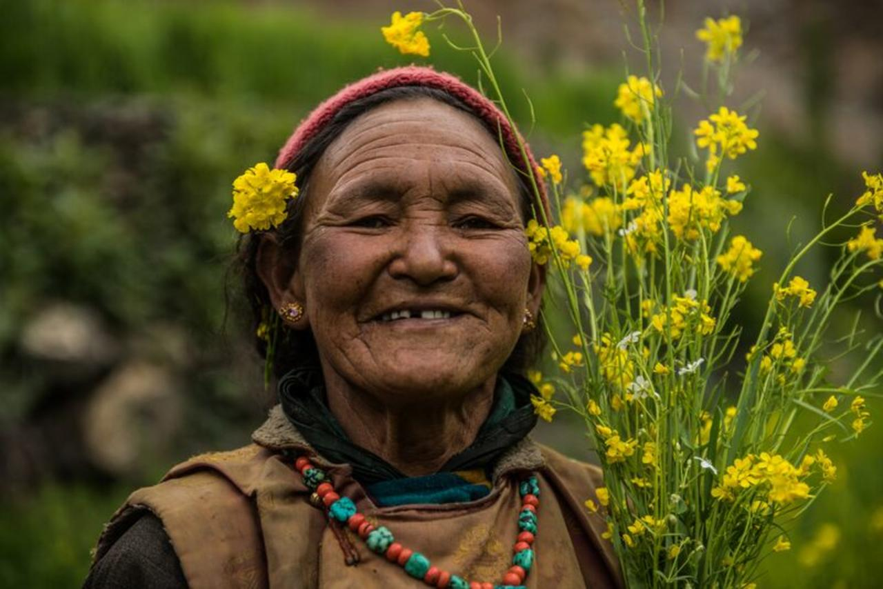 Tsering, the wife of Tsering Stanzin. Their children have long left the village and found work in bigger Indian cities. The couple continue to farm and rear animals.