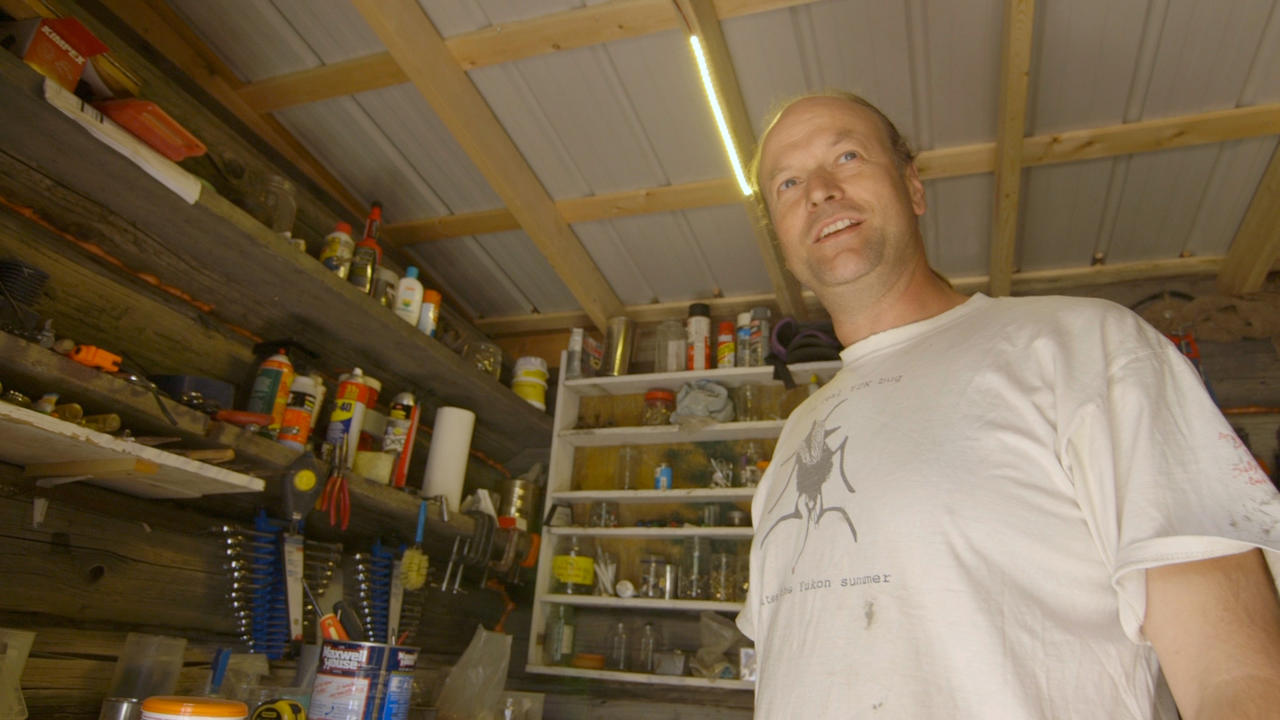 The industrious JP Pinard in his solar-powered tool shed.