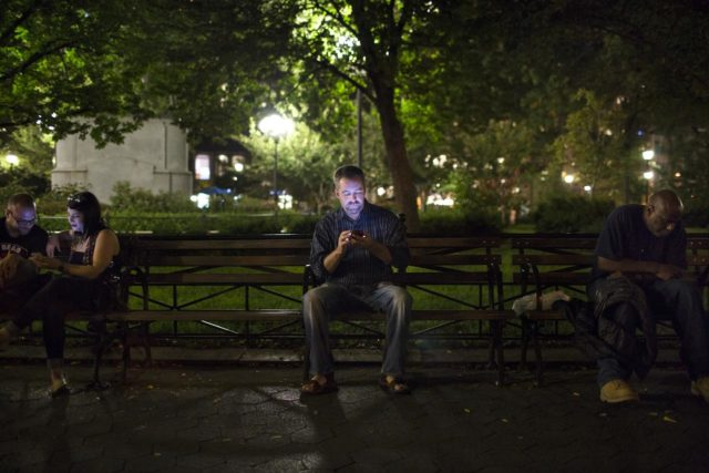 October 3, 2013. NEW YORK CITY, NY. No Longer Lonely founder Jim Leftwich poses for a portrait in Union Square. No Longer Lonely is a dating site that caters to the mentally ill. Credit: Elizabeth D. Herman/Narratively