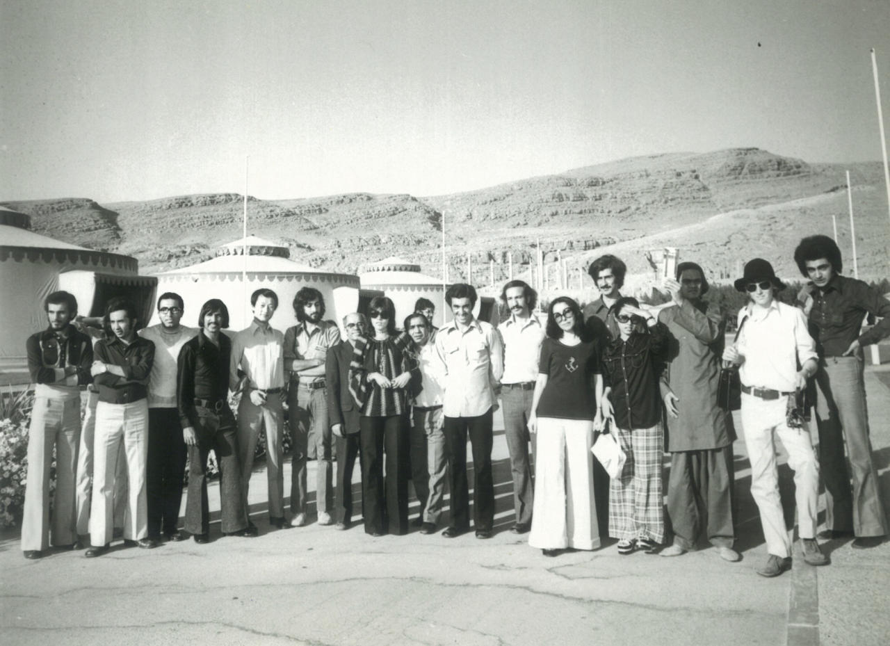 Participants in the First ABU Shiraz Film Festival of Youth, including the author (second from right), gather for a group shot at the Golden Tent City near the ancient ruins of Persepolis. The author was the youngest filmmaker attending by at least five years. (All photos courtesy Ross Duncan)