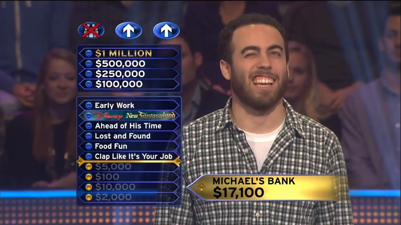 """A still from the author's appearance on """"Millionaire."""" (Image courtesy Michael Narkunski)"""