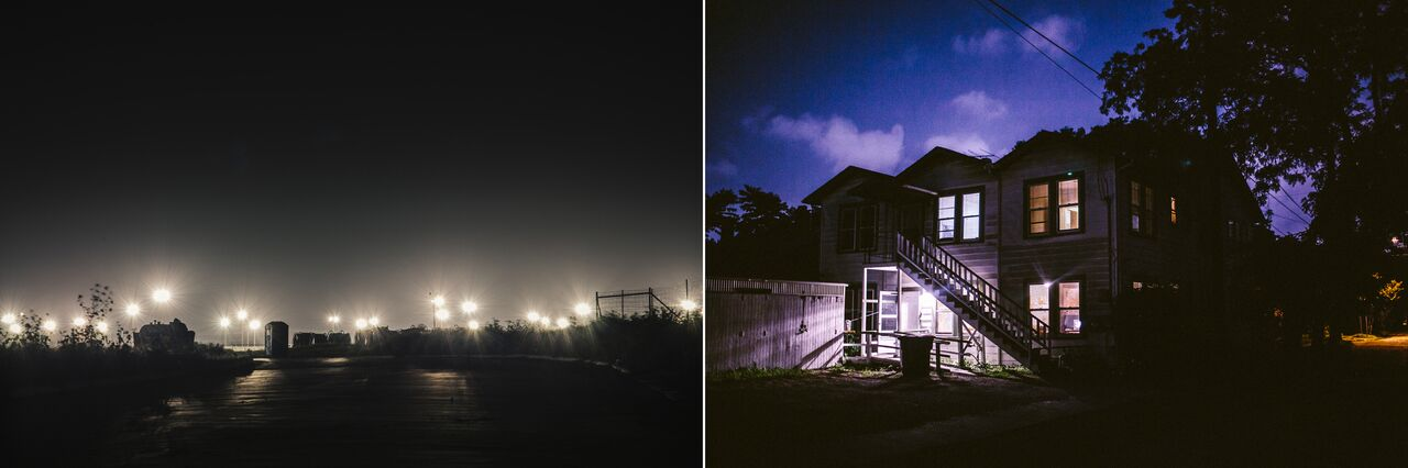 L: The glow of the stadium lights that dot the fifty-acre site of the South Texas Family Residential Center, in Dilley, Texas, can be seen on the horizon from miles around. R: The Mennonite House is a temporary shelter for women and children recently released from the South Texas Family Residential Center, as well as Karnes County Residential Center, a family detention center an hour and a half from Dilley.