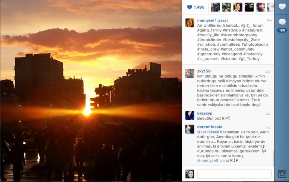 "A screenshot of Sarai Sierra's Instagram photo ""An Unfiltered Istanbul."""