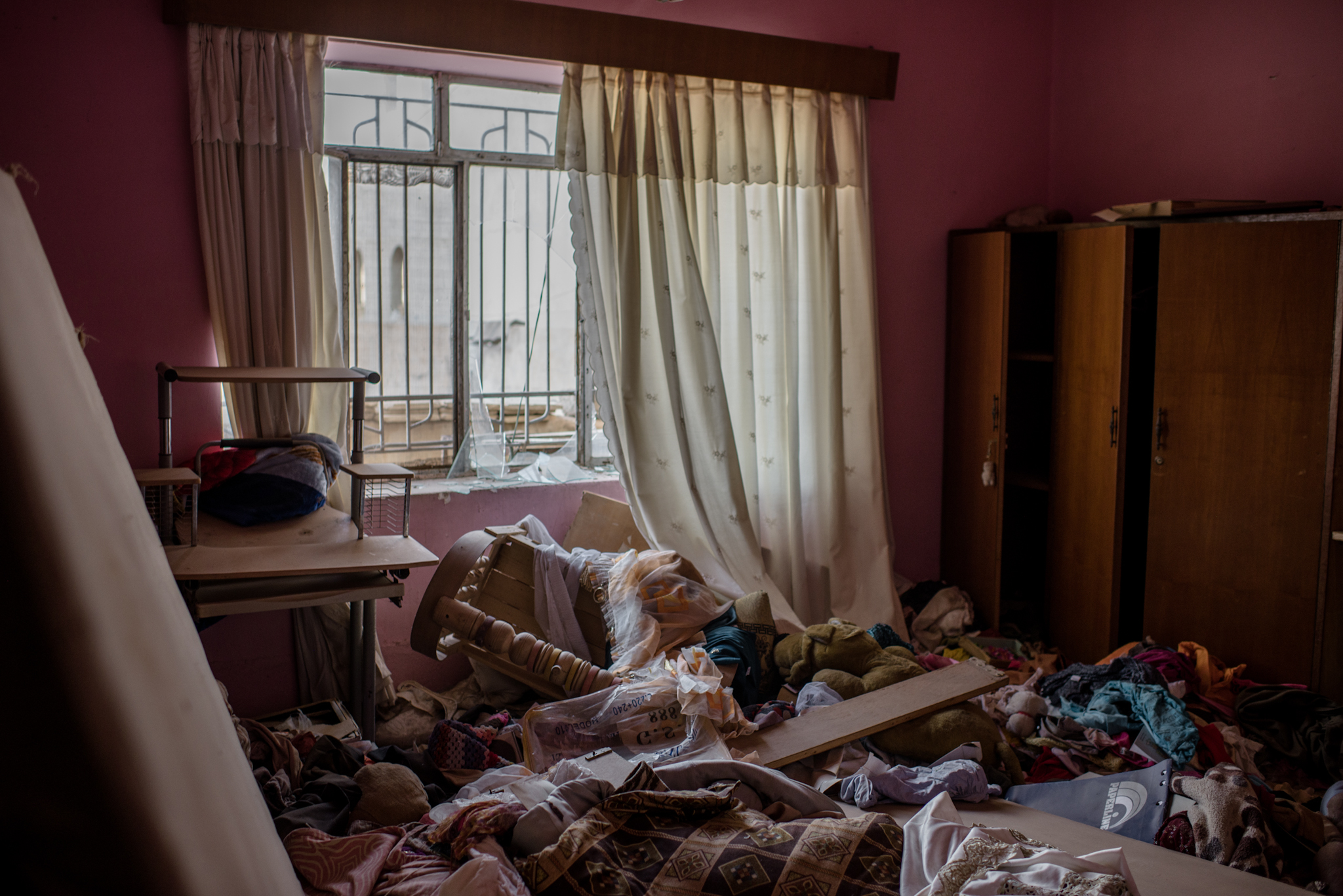 The interior of a ransacked house in the city of Bakhdida on October 30, 2016.