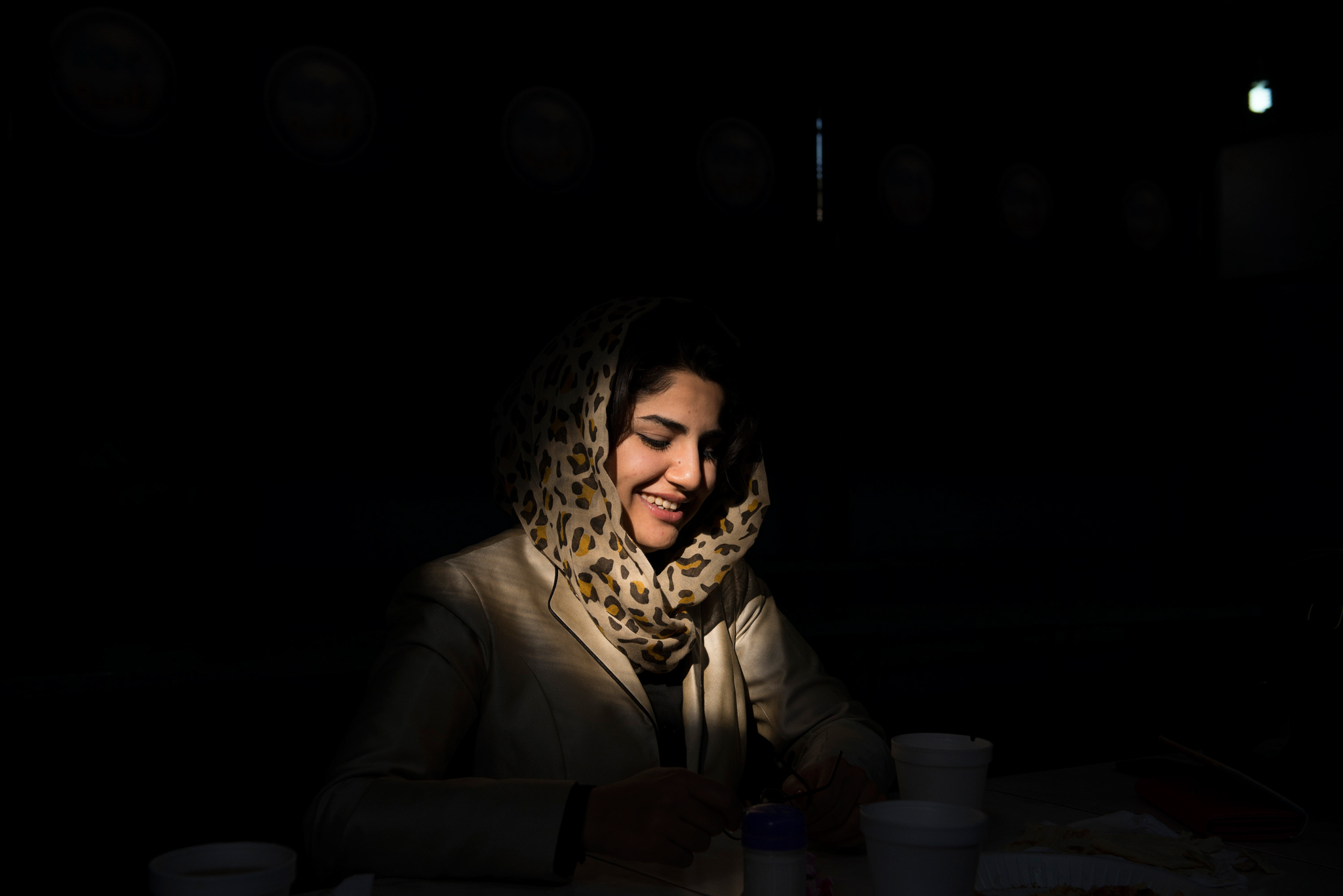 Photographed in 2015, Maryam Sama, a news host for Tolo TV, sips her tea after her morning show. Tolo TV, which is one of the only TV stations in Afghanistan to have female anchors, was targeted by a Taliban suicide attack in January 2016. Seven members of the TV staff were killed. Sama still lives in Kabul, and is also a part-time student at the American University of Afghanistan, where at least thirteen people were killed in an attack in August 2016. Sama lost several friends.