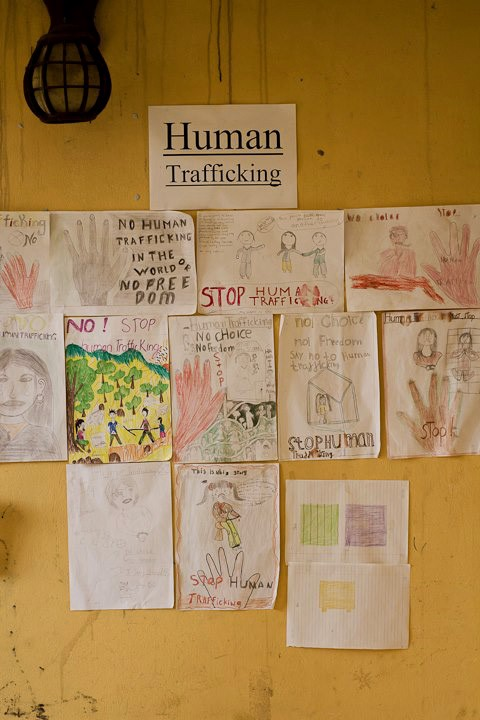 The girls at Sapa O'Chau draw anti-human-trafficking pictures. (Philip Jacobson)