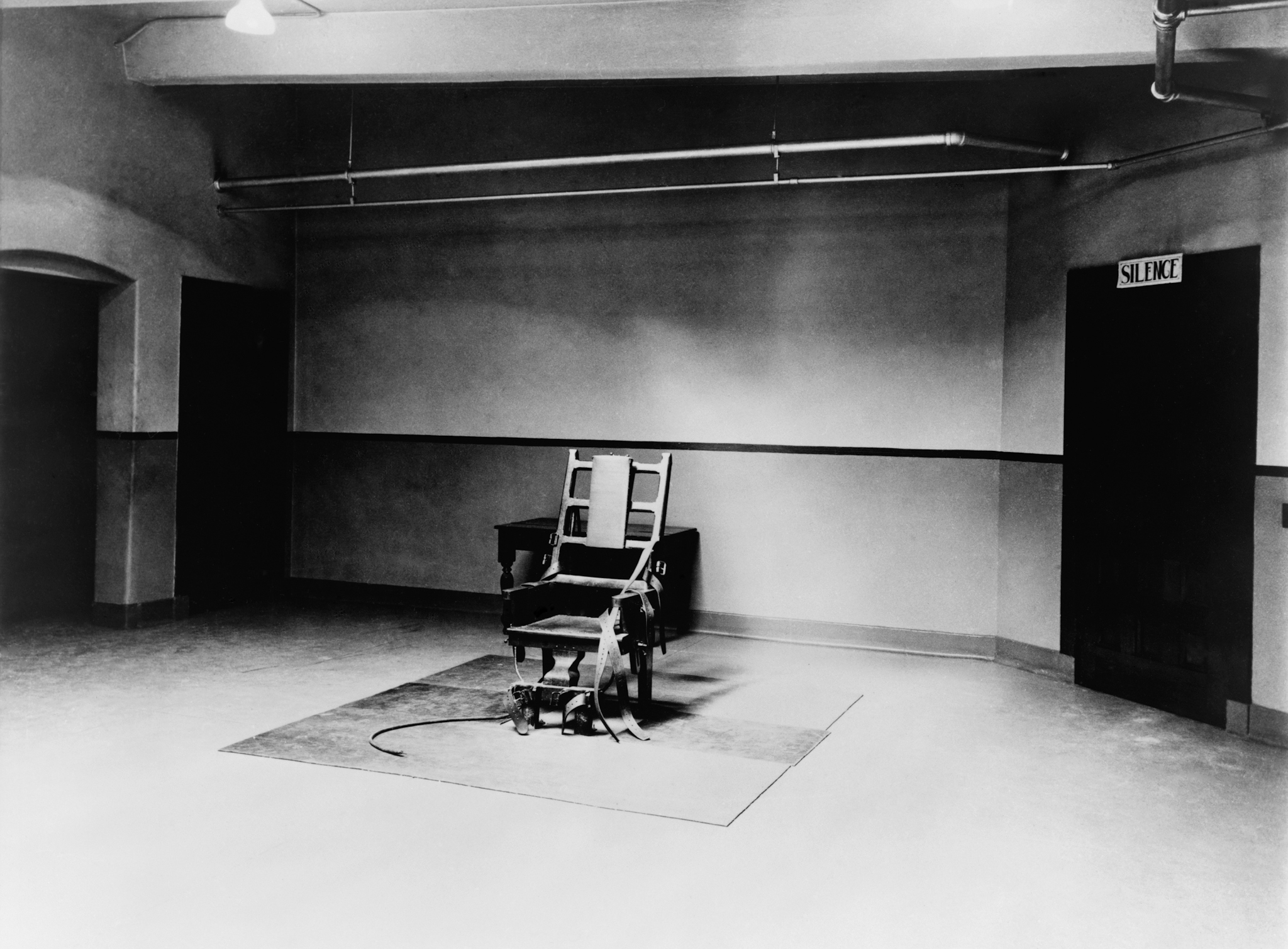 The electric chair in the death chamber at Sing Sing prison, 1923.