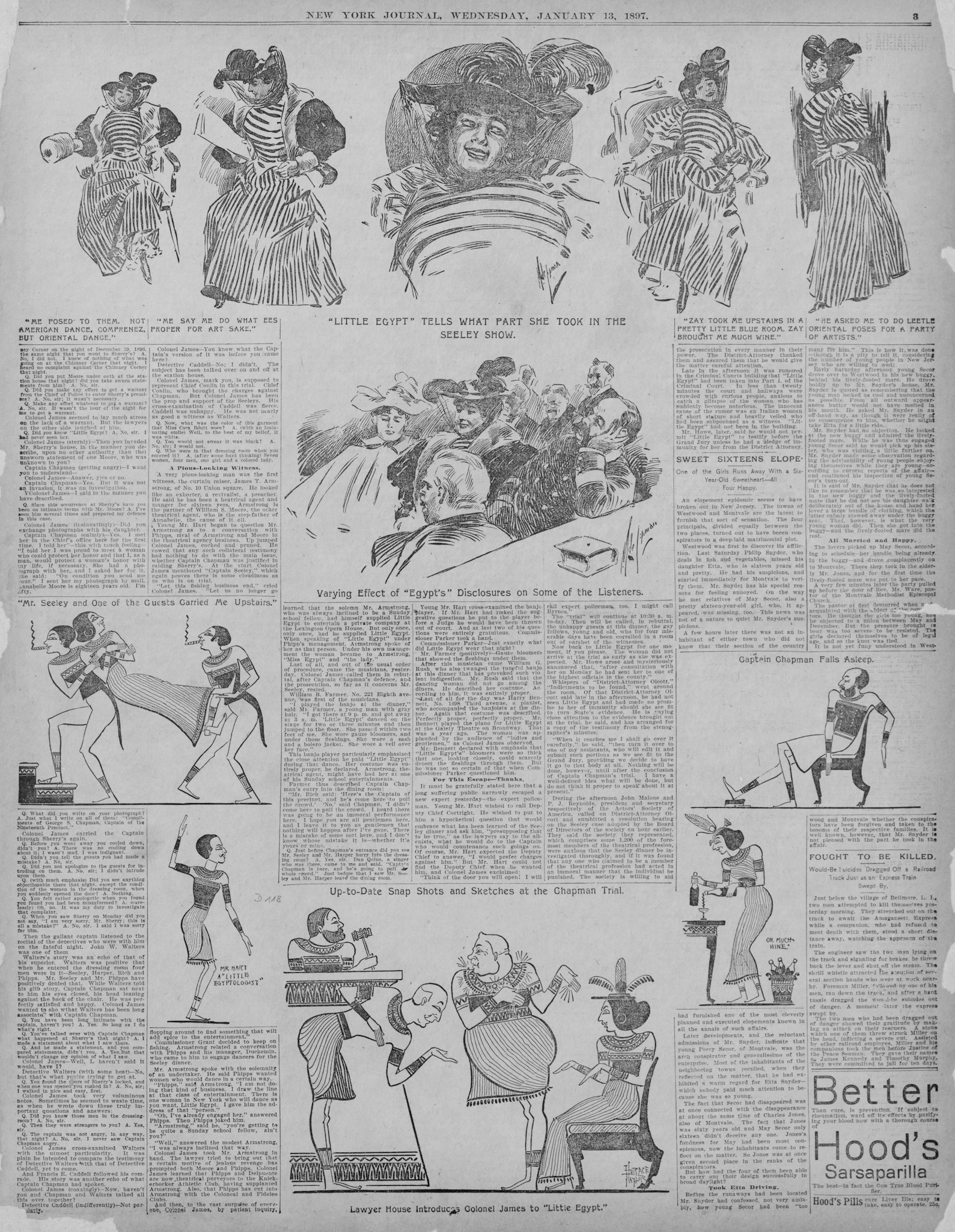 Descriptions and sketches of Little Egypt were published in the New York Journal during the Seely dinner trial. Little Egypt is the woman wearing the striped dress. (Scan courtesy of the Library of Congress.)